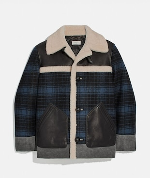 SHEARLING AND PLAID JACKET