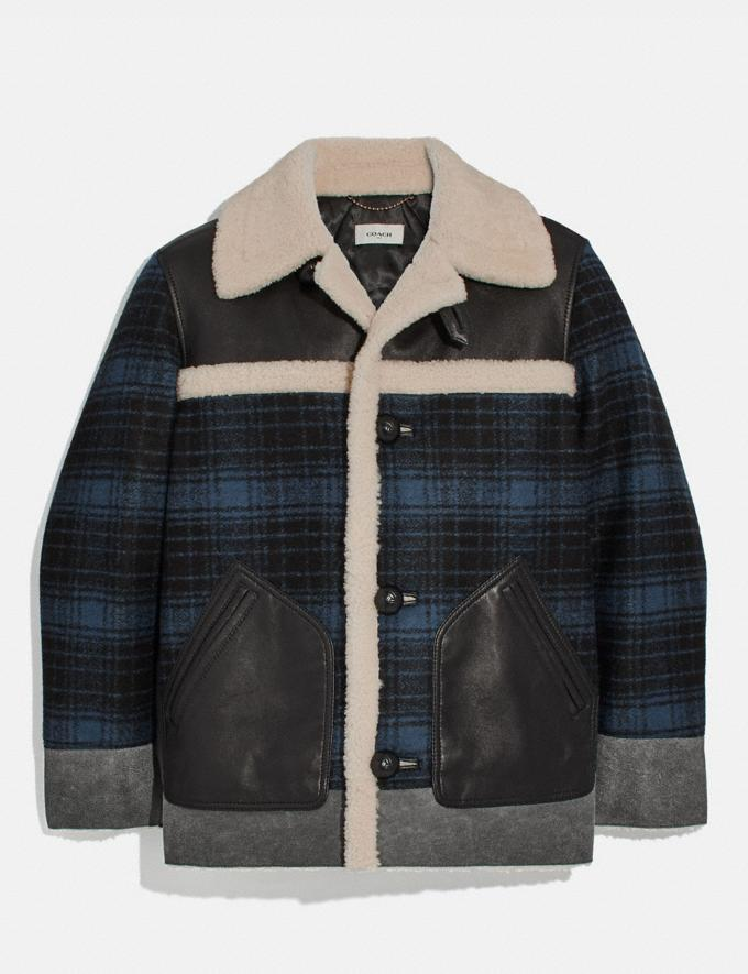 Coach Shearling and Plaid Jacket Hunting Fishing Blue
