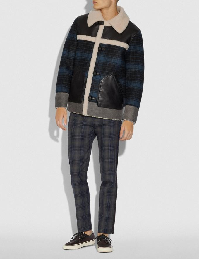 Coach Shearling and Plaid Jacket Hunting Fishing Blue Men Ready-to-Wear Jackets & Outerwear Alternate View 1