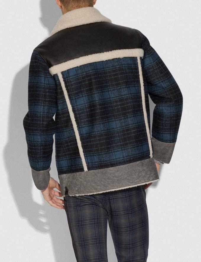 Coach Shearling and Plaid Jacket Hunting Fishing Blue  Alternate View 2