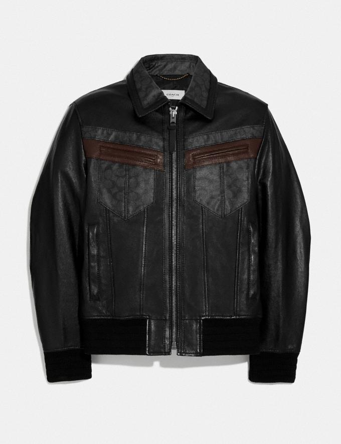 Coach Signature Leather Jacket Black