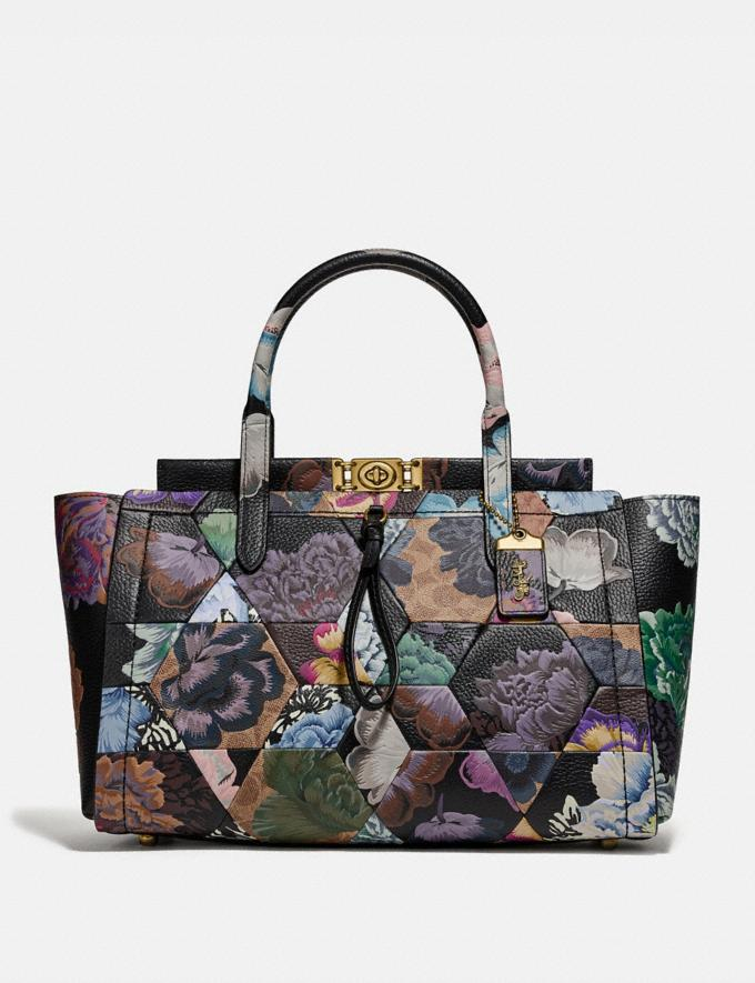 Coach Troupe Carryall 35 in Signature Canvas With Kaffe Fassett Print B4/Tan Multi