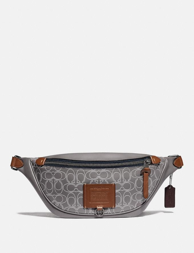 Coach Rivington Belt Bag in Reflective Signature Leather Black Copper/Heather Grey Gifts For Him Under $500