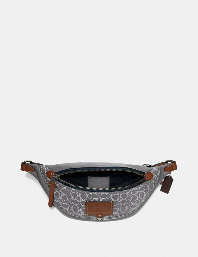 Coach Rivington Belt Bag in Reflective Signature Leather Black Copper/Heather Grey Men Bags Messenger Bags Alternate View 3