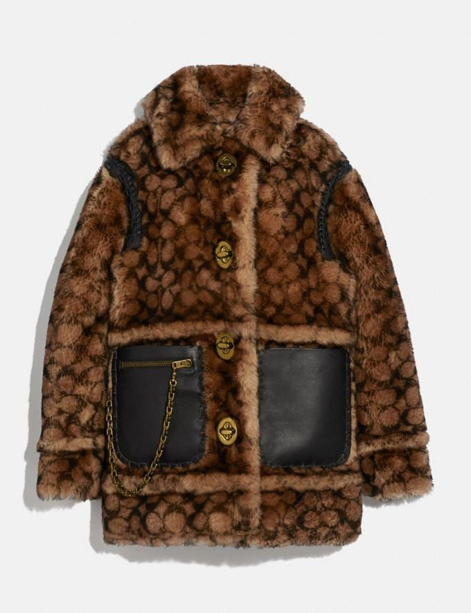 Coach Signature Shearling Coat Signature C New Women's New Arrivals