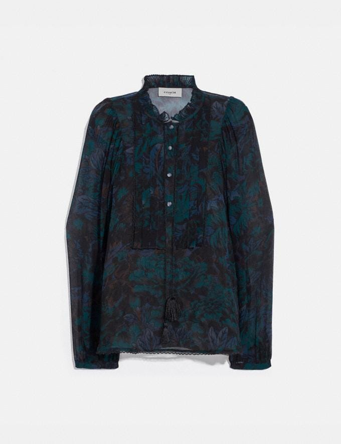 Coach Printed Blouse Navy/Teal New Women's New Arrivals Collection