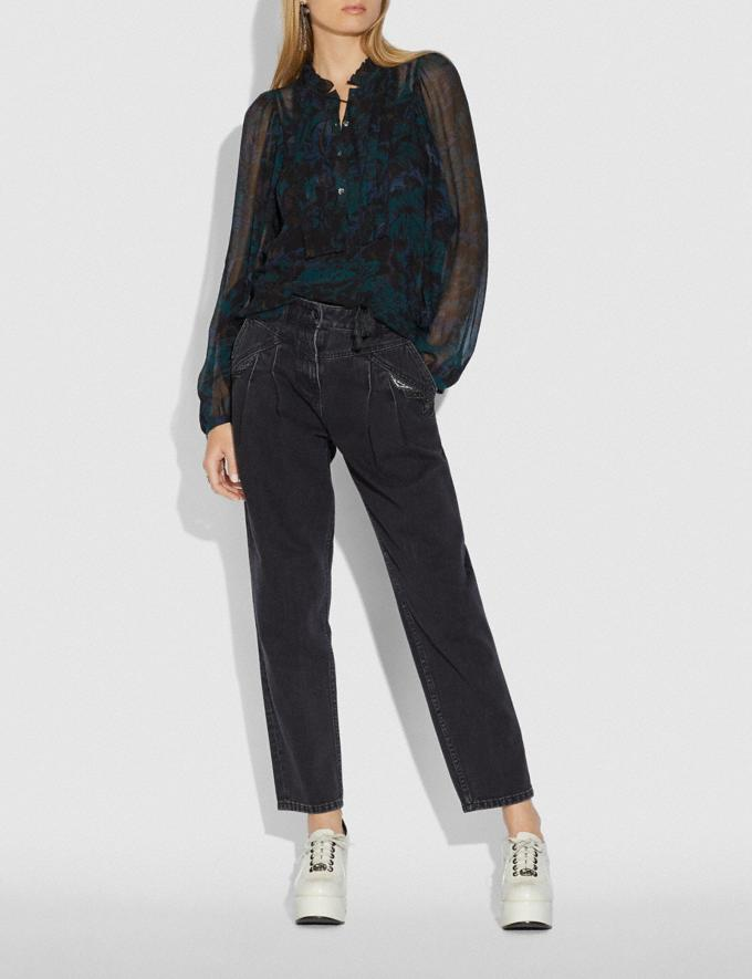 Coach Printed Blouse Navy/Teal New Women's New Arrivals Collection Alternate View 1