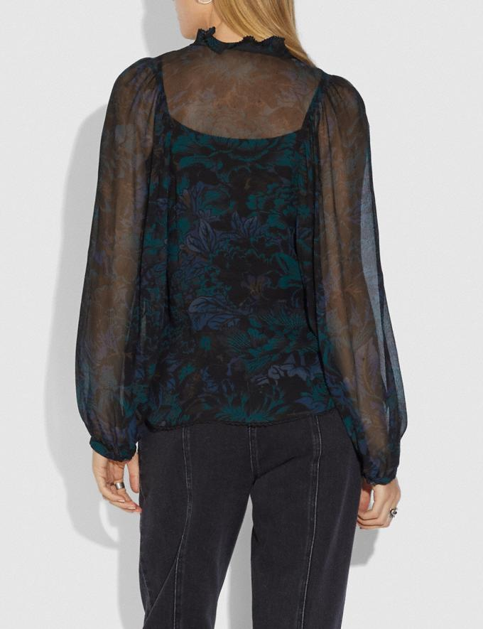 Coach Printed Blouse Navy/Teal New Women's New Arrivals Collection Alternate View 2