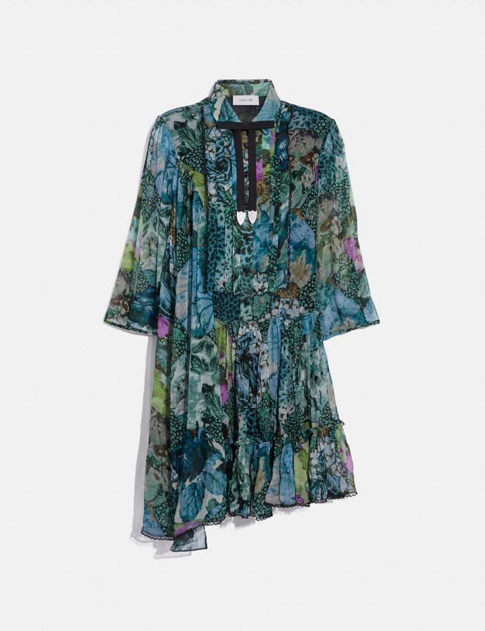 Coach Asymmetrical Dress With Kaffe Fassett Print Blue Green VIP SALE Women's Sale Ready-to-Wear