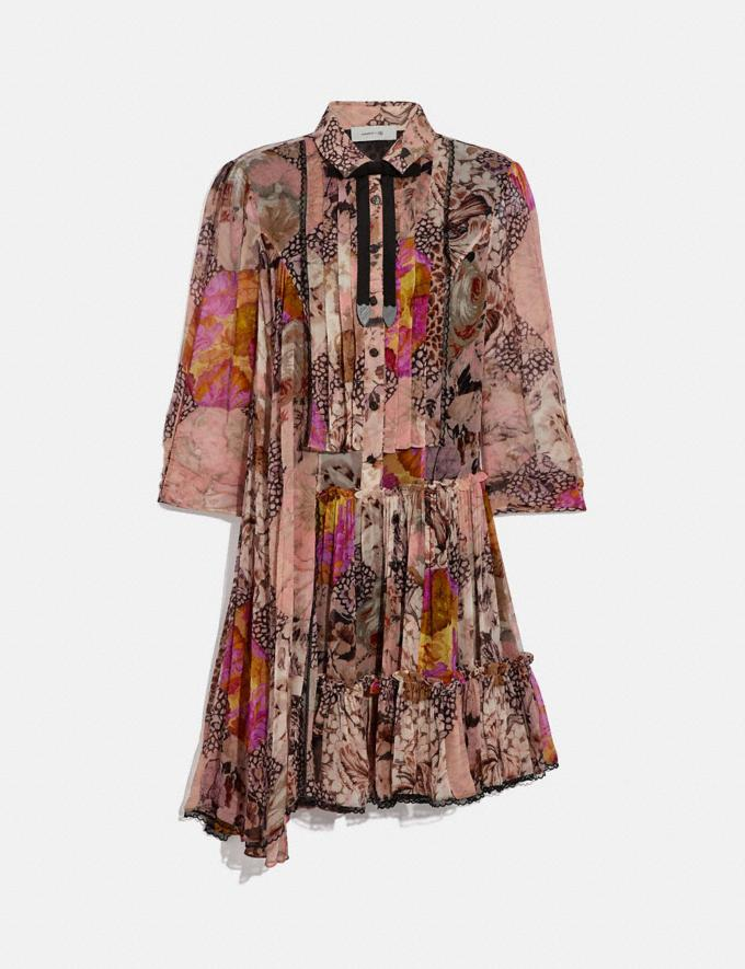 Coach Asymmetrical Dress With Kaffe Fassett Print Peach/Pink Women Ready-to-Wear Dresses
