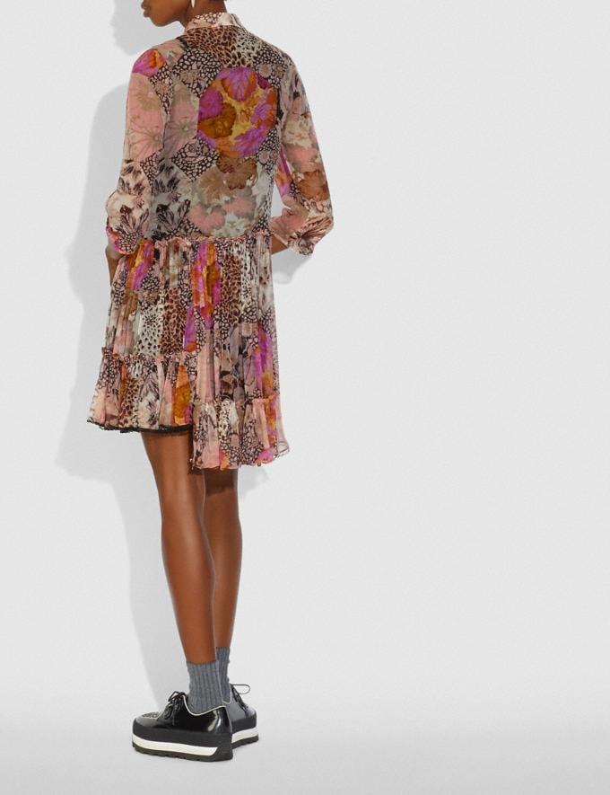 Coach Asymmetrical Dress With Kaffe Fassett Print Peach/Pink Women Ready-to-Wear Dresses Alternate View 2