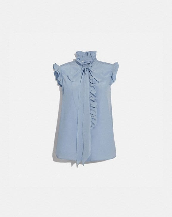 Coach TIE NECK SLEEVELESS RUFFLE BLOUSE