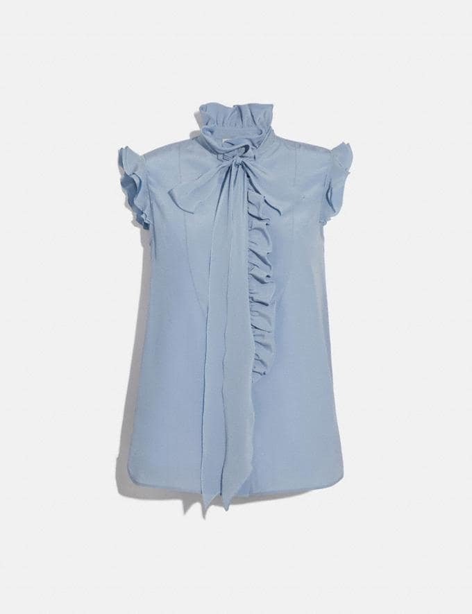 Coach Tie Neck Sleeveless Ruffle Blouse Light Blue Women Ready-to-Wear Tops