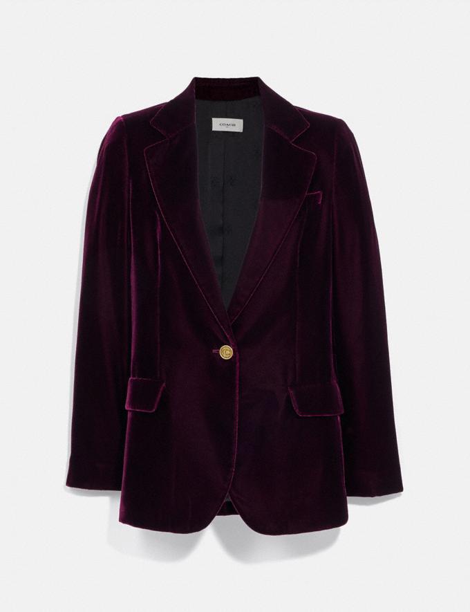 Coach Velvet Blazer Burgundy Women Ready-to-Wear Coats & Jackets