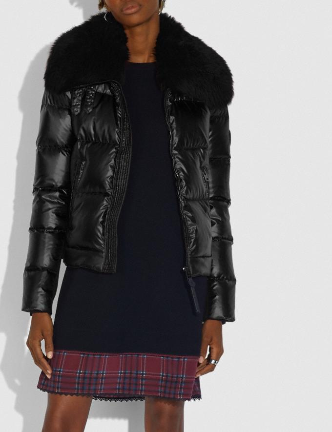 Coach Aviator Puffer Jacket Black New Women's New Arrivals Collection Alternate View 1