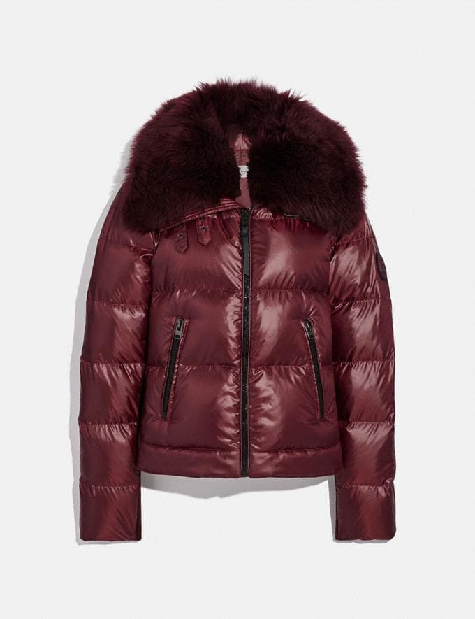 Coach Aviator Puffer Jacket Burgundy Women Ready-to-Wear Jackets & Outerwear
