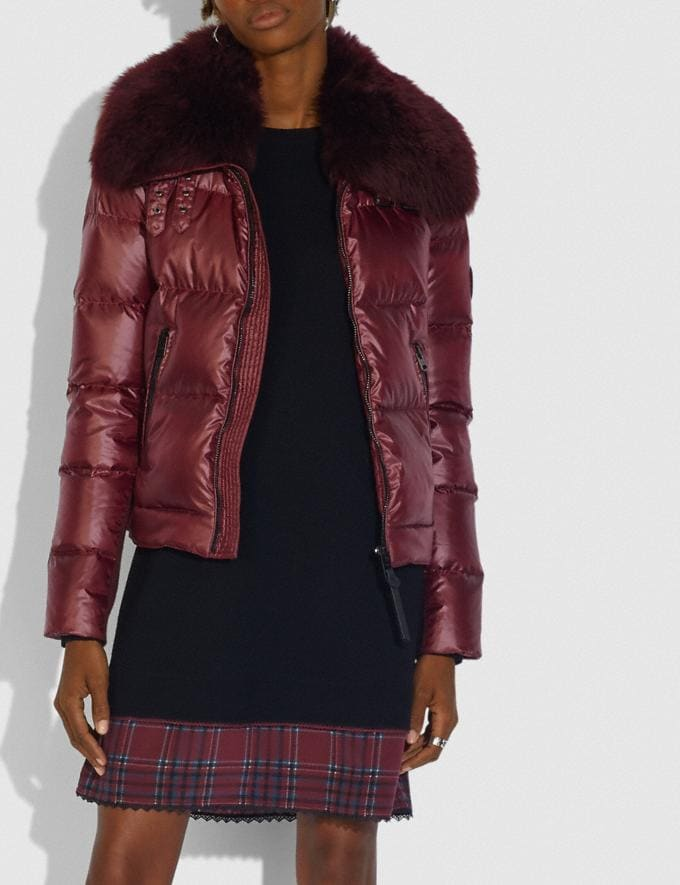 Coach Aviator Puffer Jacket Burgundy Women Ready-to-Wear Jackets & Outerwear Alternate View 1