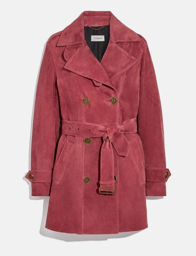 Coach Short Suede Trench Coat Rose Women Ready-to-Wear Coats & Jackets
