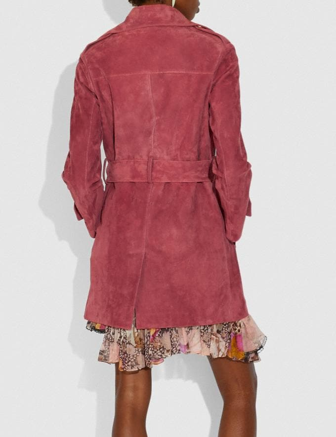 Coach Short Suede Trench Coat Rose Women Ready-to-Wear Coats & Jackets Alternate View 2