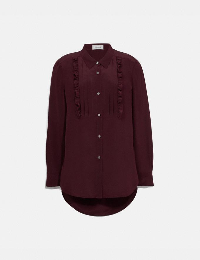 Coach Pleated Bib Shirt Burgundy Women Ready-to-Wear Tops