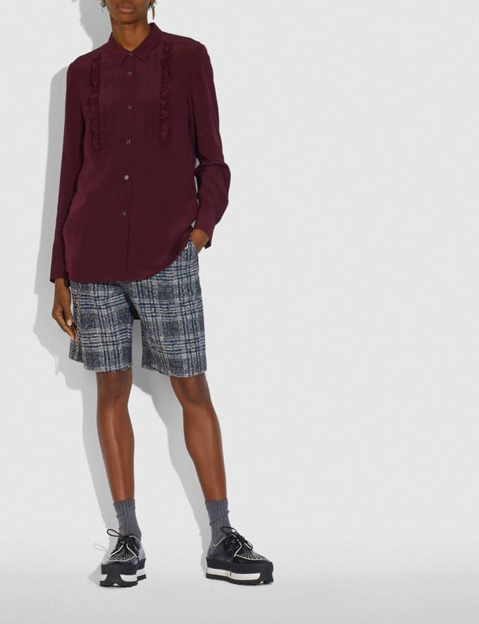 Coach Pleated Bib Shirt Burgundy New Women's New Arrivals Collection Alternate View 1