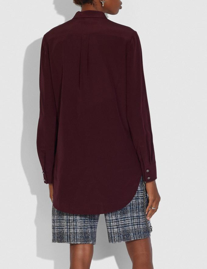 Coach Pleated Bib Shirt Burgundy New Women's New Arrivals Collection Alternate View 2