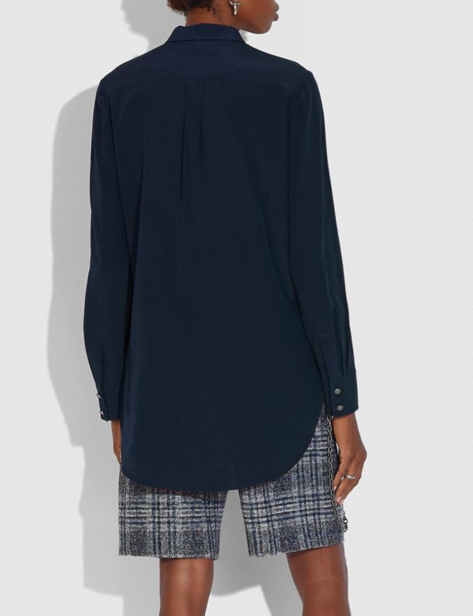 Coach Pleated Bib Shirt Dark Navy Women Ready-to-Wear Tops Alternate View 2