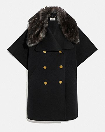 luxury wool cape with shearling collar