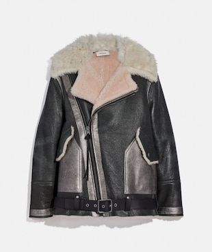 OVERSIZED SHEARLING AVIATOR JACKET