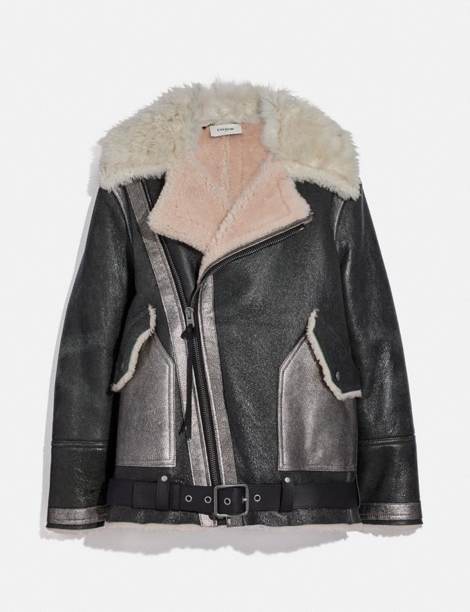 Coach Oversized Shearling Aviator Jacket Black/Pink New Women's New Arrivals