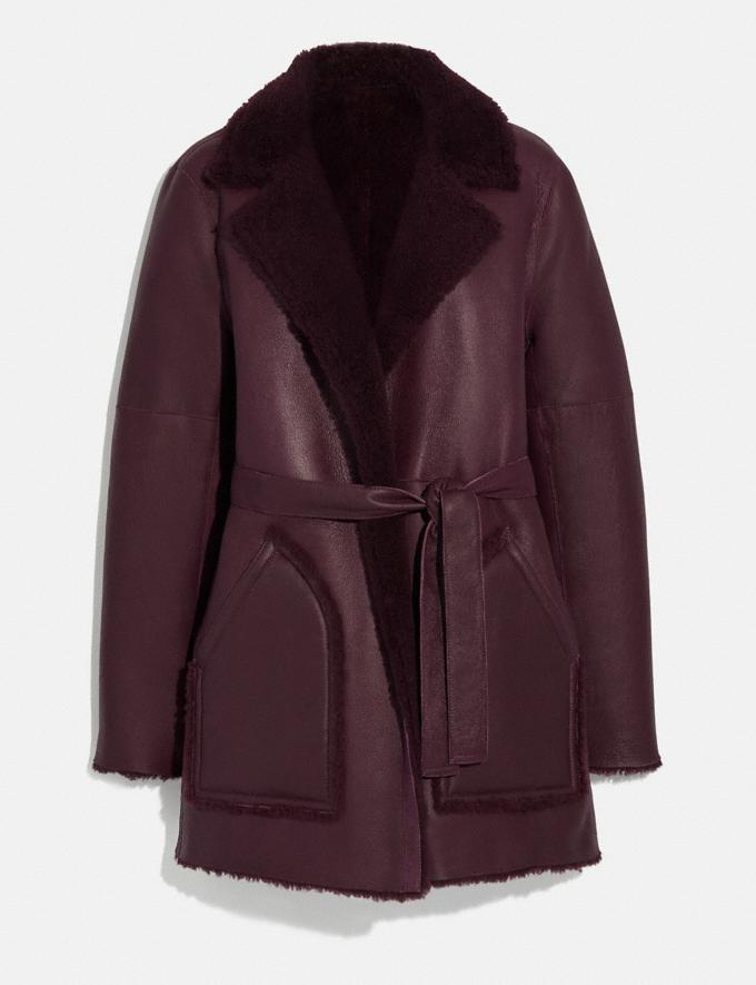 Coach Reversible Shearling Coat With Belt Burgundy New Women's New Arrivals Ready-to-Wear
