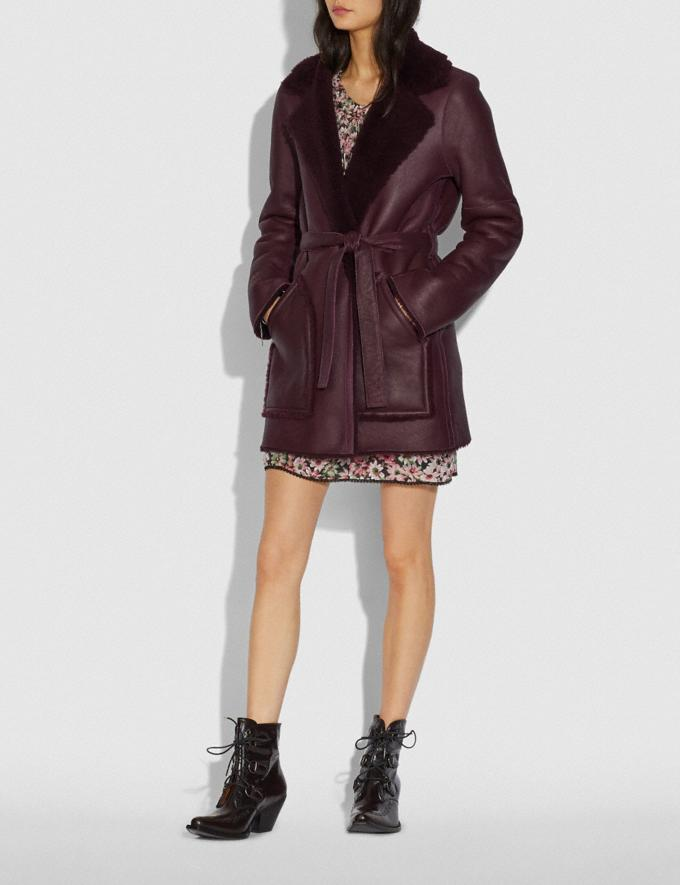 Coach Reversible Shearling Coat With Belt Burgundy New Women's New Arrivals Ready-to-Wear Alternate View 1