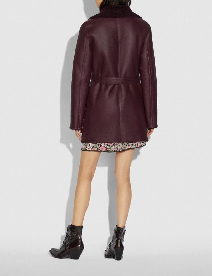 Coach Reversible Shearling Coat With Belt Burgundy New Women's New Arrivals Ready-to-Wear Alternate View 2