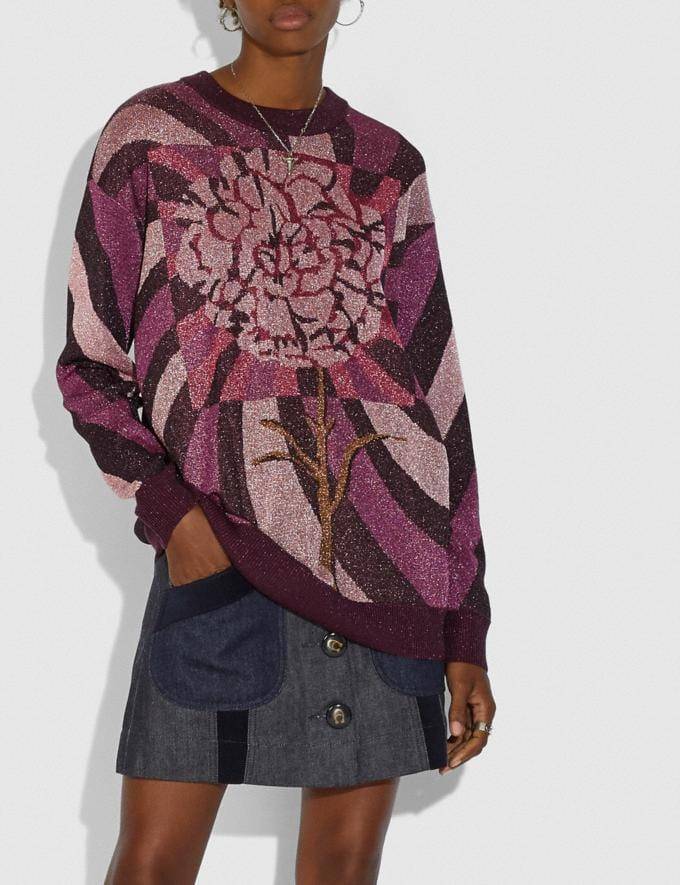 Coach Sweater With Kaffe Fassett Carnation Print Multi Women Ready-to-Wear Tops & T-shirts Alternate View 1