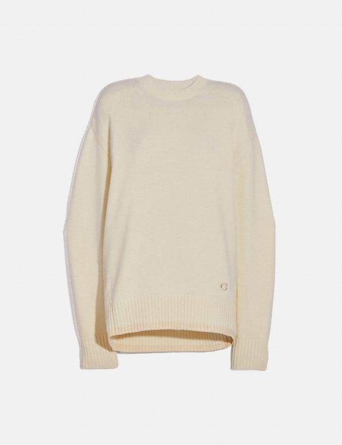 Coach Crewneck Essentials Ivory Women Ready-to-Wear Knitwear & Sweatshirts