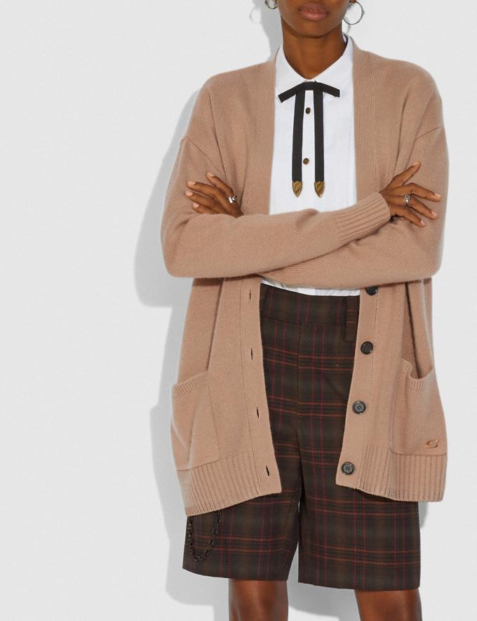 Coach Cardigan Essentials Camel Women Ready-to-Wear Tops Alternate View 1