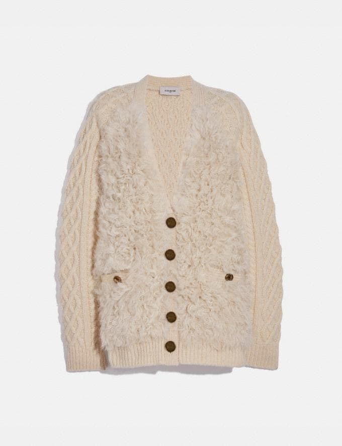 Coach Shearling Raglan Cardigan Ivory Women Ready-to-Wear Tops