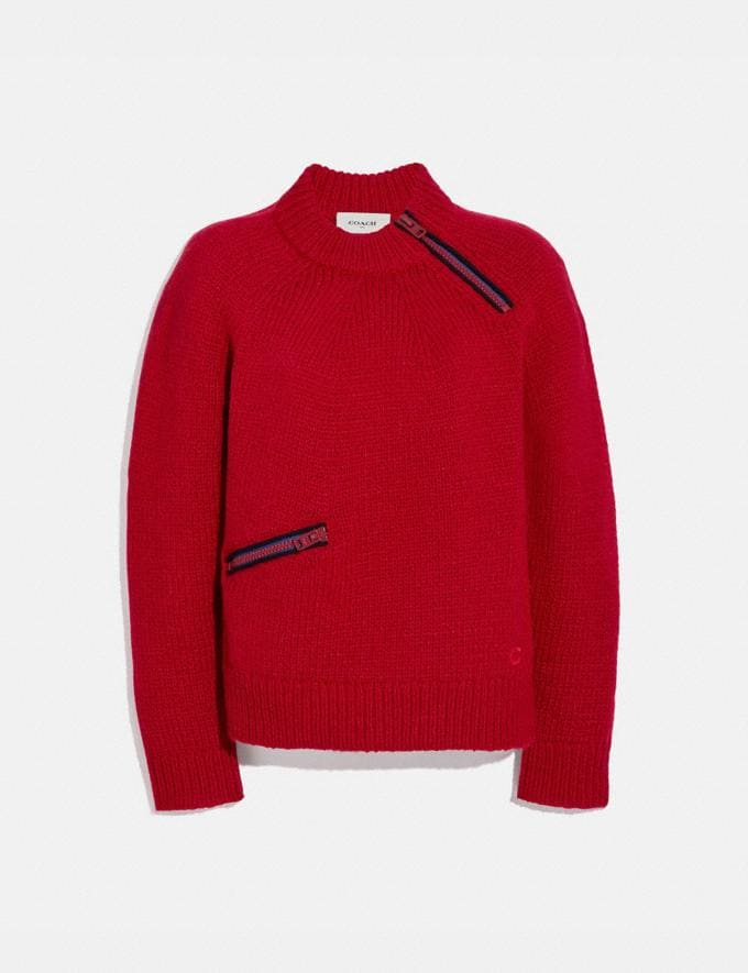 Coach Fitted Crewneck Sweater With Zips Red