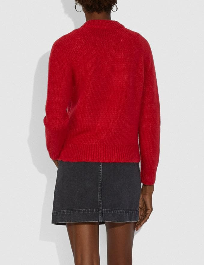 Coach Fitted Crewneck Sweater With Zips Red  Alternate View 2