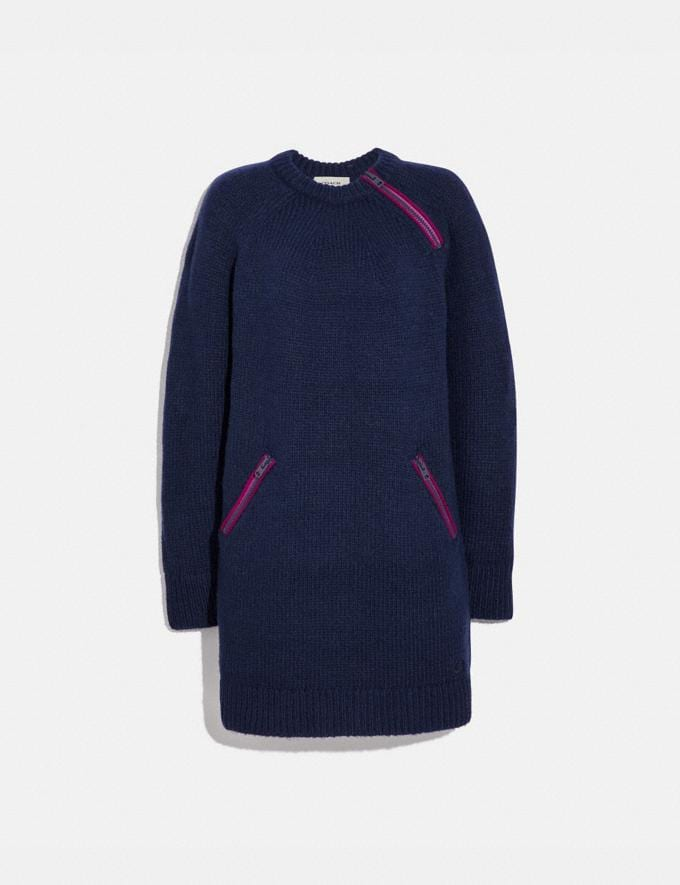 Coach Crewneck Sweater Dress With Zips Navy