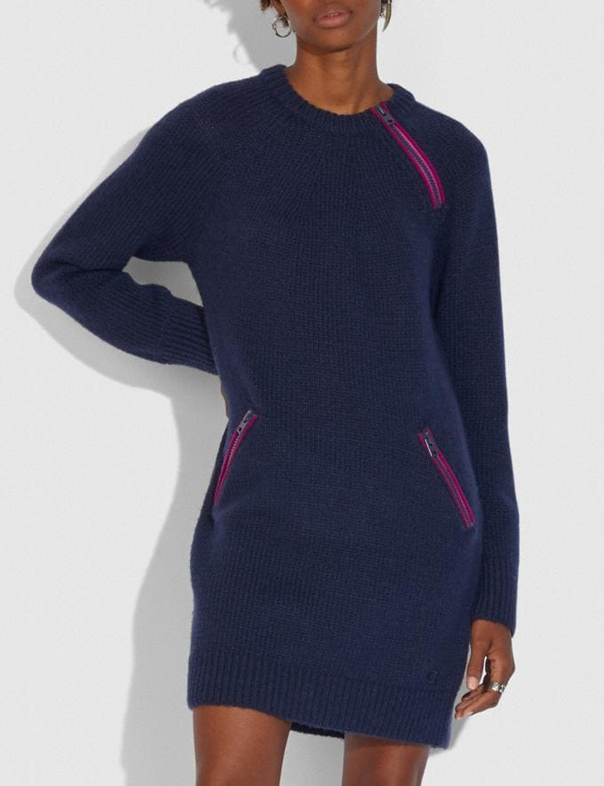 Coach Crewneck Sweater Dress With Zips Navy  Alternate View 1