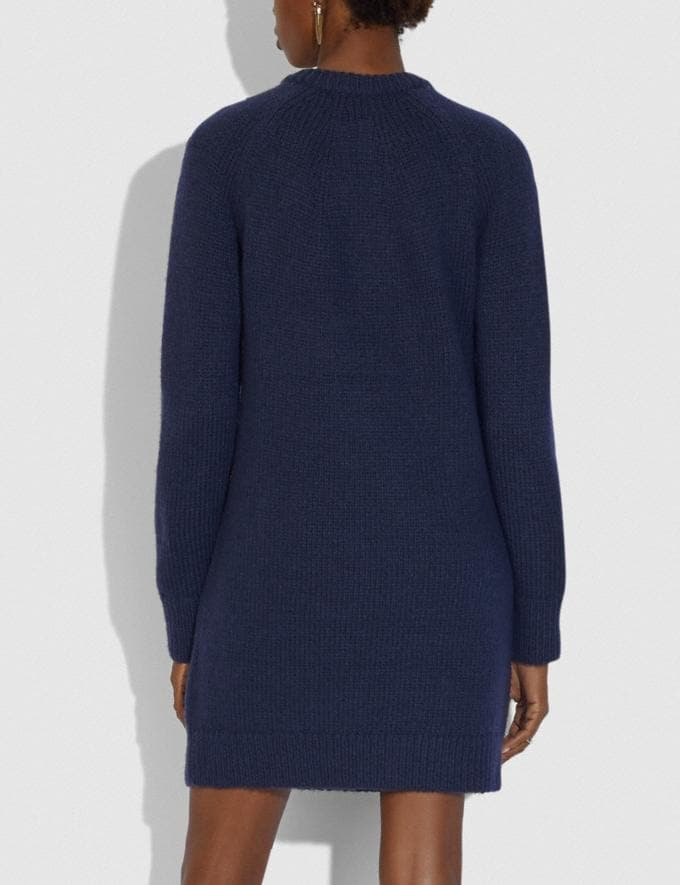 Coach Crewneck Sweater Dress With Zips Navy  Alternate View 2