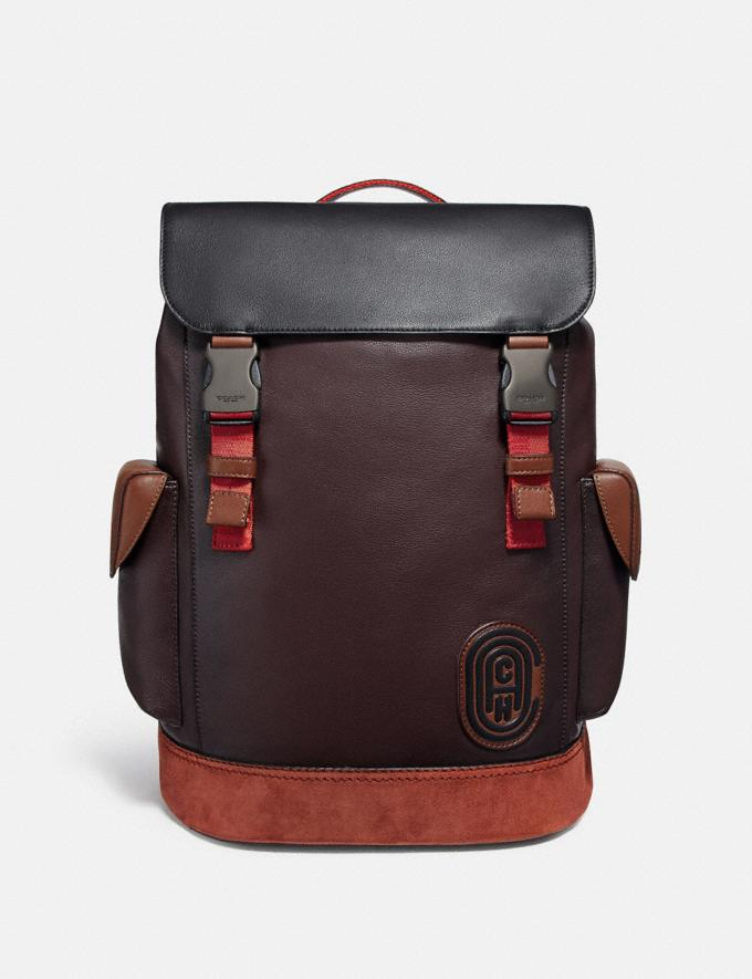 Coach Rivington Backpack in Colorblock With Coach Patch Black Copper/Oxblood Multi Men Bags Backpacks