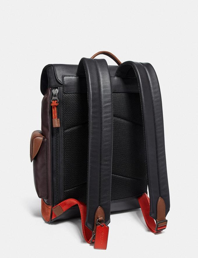 Coach Rivington Backpack in Colorblock With Coach Patch Black Copper/Oxblood Multi Men Bags Backpacks Alternate View 1