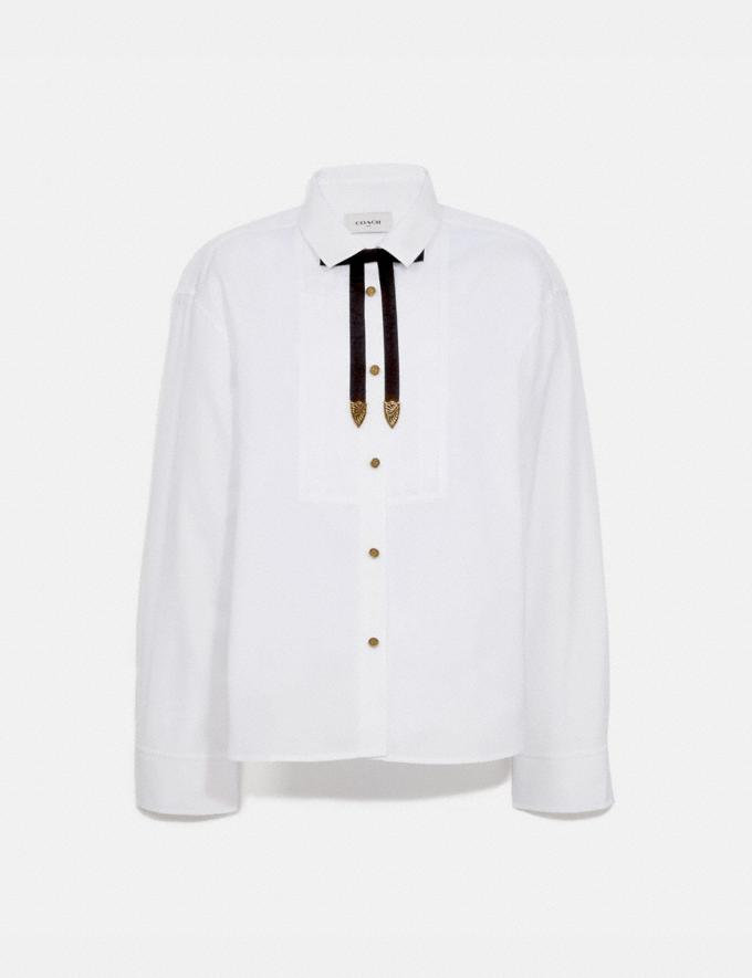 Coach Pleated Bib Shirt White