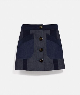 DENIM SKIRT WITH CORDUROY DETAIL