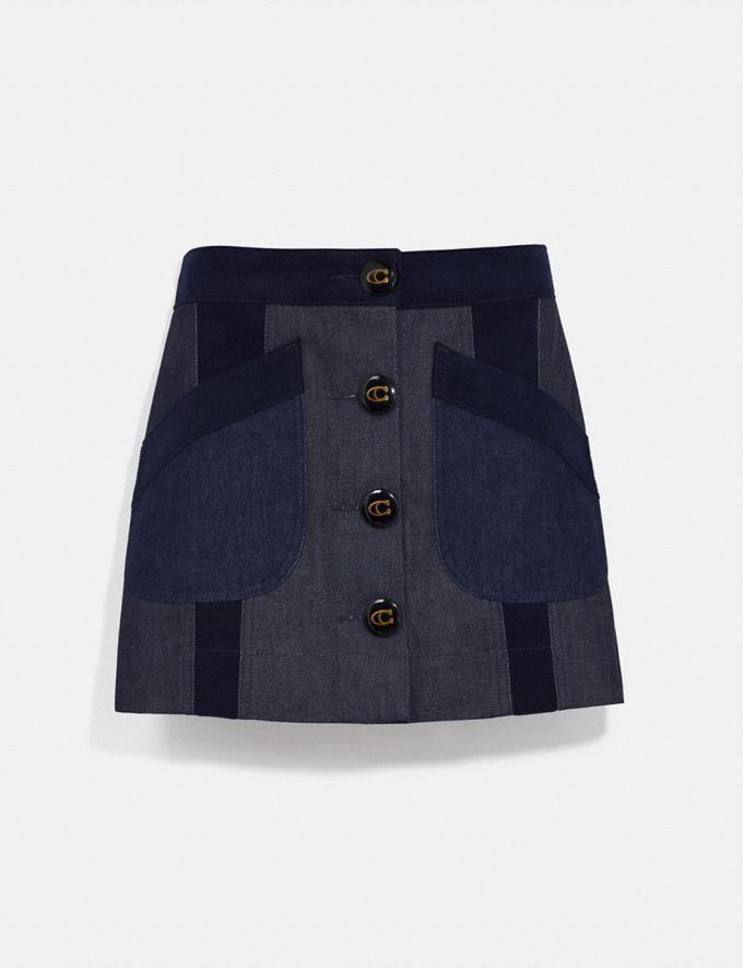 Coach Denim Skirt With Corduroy Detail Dark Wash Women Ready-to-Wear Bottoms