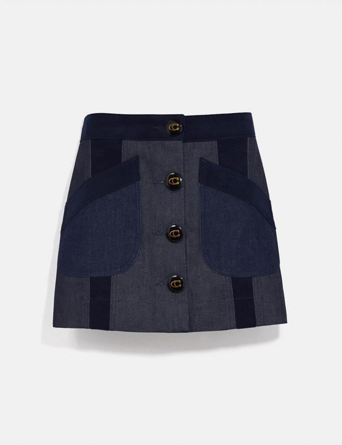 Coach Denim Skirt With Corduroy Detail Dark Wash New Women's New Arrivals Collection