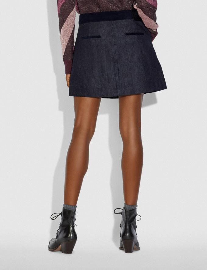 Coach Denim Skirt With Corduroy Detail Dark Wash Women Ready-to-Wear Bottoms Alternate View 2