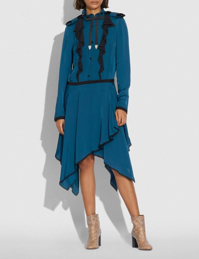 Coach Pleated Dress Teal  Alternate View 1